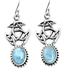 6.56cts natural blue aquamarine 925 sterling silver dangle earrings p54862