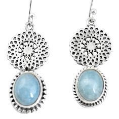 6.31cts natural blue aquamarine 925 sterling silver dangle earrings p55449