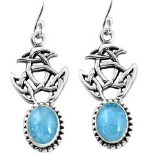6.32cts natural blue aquamarine 925 sterling silver dangle earrings p60772