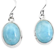11.23cts natural blue aquamarine 925 sterling silver dangle earrings p76683