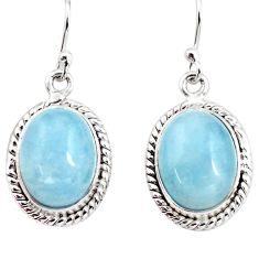 14.08cts natural blue aquamarine 925 sterling silver dangle earrings p76692