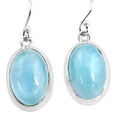 14.41cts natural blue aquamarine 925 sterling silver dangle earrings p76702