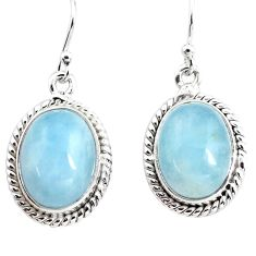 14.12cts natural blue aquamarine 925 sterling silver dangle earrings p76711
