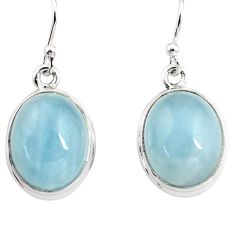 14.41cts natural blue aquamarine 925 sterling silver dangle earrings p76715