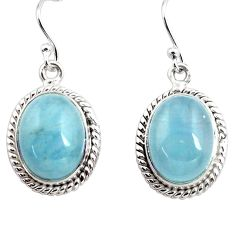 12.79cts natural blue aquamarine 925 sterling silver dangle earrings p78228