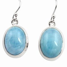 13.92cts natural blue aquamarine 925 sterling silver dangle earrings p78238