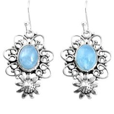 6.26cts natural blue aquamarine 925 sterling silver flower earrings p52029