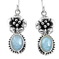 7.07cts natural blue aquamarine 925 sterling silver flower earrings p54929