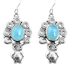6.76cts natural blue aquamarine 925 sterling silver owl earrings jewelry p52001