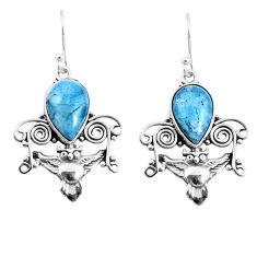 7.12cts natural blue aquamarine 925 sterling silver owl earrings jewelry p52061