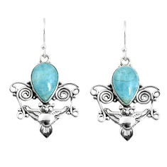 7.40cts natural blue aquamarine 925 sterling silver owl earrings jewelry p52062