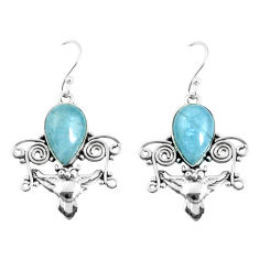 7.66cts natural blue aquamarine 925 sterling silver owl earrings jewelry p52063