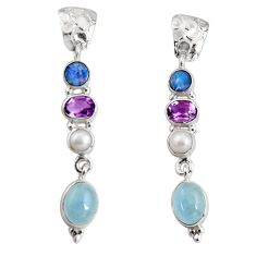 15.16cts natural blue aquamarine pearl 925 silver dangle earrings jewelry d32297