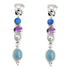 15.85cts natural blue aquamarine pearl amethsyt silver dangle earrings d32289