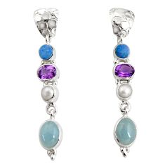 15.11cts natural blue aquamarine pearl amethyst silver dangle earrings d32298