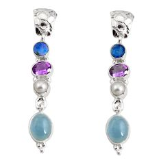 15.16cts natural blue aquamarine pearl amethyst silver dangle earrings d32299