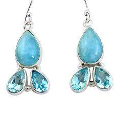 14.26cts natural blue aquamarine topaz 925 silver dangle earrings jewelry p57357