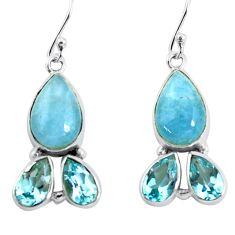 12.83cts natural blue aquamarine topaz 925 silver dangle earrings jewelry p57360