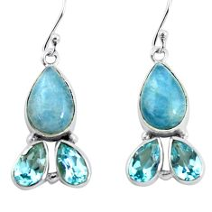 13.40cts natural blue aquamarine topaz 925 silver dangle earrings p57356