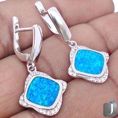 NATURAL BLUE AUSTRALIAN OPAL TOPAZ 925 SILVER DANGLE EARRINGS JEWELRY G2507