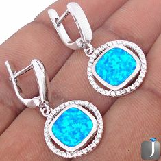 NATURAL BLUE AUSTRALIAN OPAL TOPAZ 925 STERLING SILVER DANGLE EARRINGS G77371