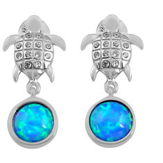 3.03cts natural blue australian opal triplet 925 silver tortoise earrings c4551