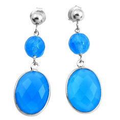 18.57cts natural blue chalcedony 925 sterling silver dangle earrings p43669