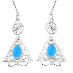 3.03cts natural blue chalcedony 925 sterling silver dangle earrings p60863