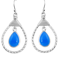 9.05cts natural blue chalcedony 925 sterling silver dangle earrings p89962