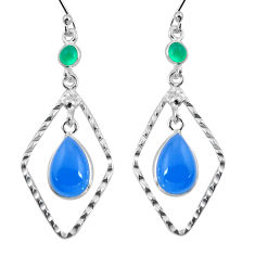 9.18cts natural blue chalcedony chalcedony 925 silver dangle earrings p89983