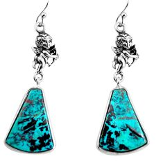 16.20cts natural blue chrysocolla 925 silver cupid angel wings earrings p91899