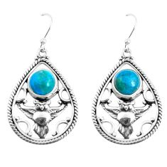 6.57cts natural blue chrysocolla 925 sterling silver owl earrings jewelry p52041