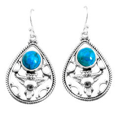 6.57cts natural blue chrysocolla 925 sterling silver owl earrings jewelry p52042