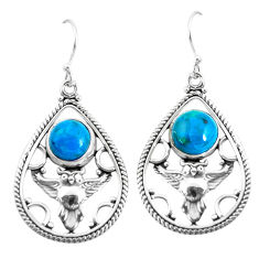 6.57cts natural blue chrysocolla 925 sterling silver owl earrings jewelry p52043