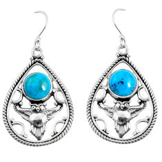 6.60cts natural blue chrysocolla 925 sterling silver owl earrings jewelry p52046
