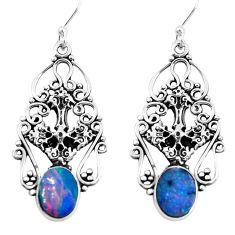 5.35cts natural blue doublet opal australian 925 silver cross earrings p52262