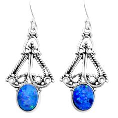4.23cts natural blue doublet opal australian 925 silver dangle earrings p52097