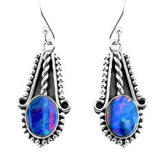 6.10cts natural blue doublet opal australian 925 silver dangle earrings p52817