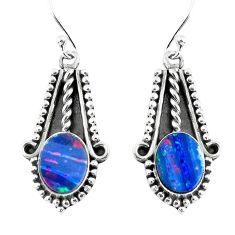6.36cts natural blue doublet opal australian 925 silver dangle earrings p52818