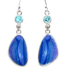 13.13cts natural blue doublet opal australian 925 silver dangle earrings p53926