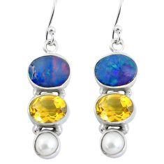8.31cts natural blue doublet opal australian 925 silver dangle earrings p57477
