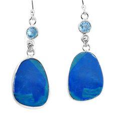16.49cts natural blue doublet opal australian 925 silver dangle earrings p58084
