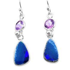 6.92cts natural blue doublet opal australian 925 silver dangle earrings p62971