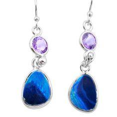 8.01cts natural blue doublet opal australian 925 silver dangle earrings p62972
