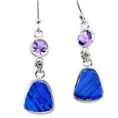 8.48cts natural blue doublet opal australian 925 silver dangle earrings p62977