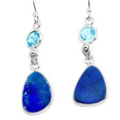 9.72cts natural blue doublet opal australian 925 silver dangle earrings p62986