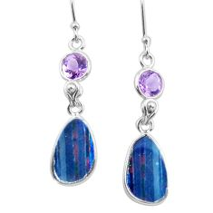 9.13cts natural blue doublet opal australian 925 silver dangle earrings p62991