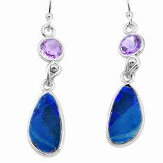 10.14cts natural blue doublet opal australian 925 silver dangle earrings p62998