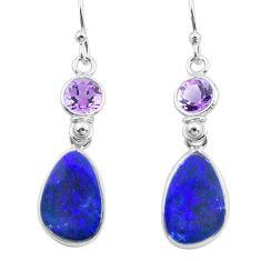 9.13cts natural blue doublet opal australian 925 silver dangle earrings p63000