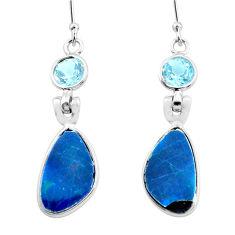 10.89cts natural blue doublet opal australian 925 silver dangle earrings p63008